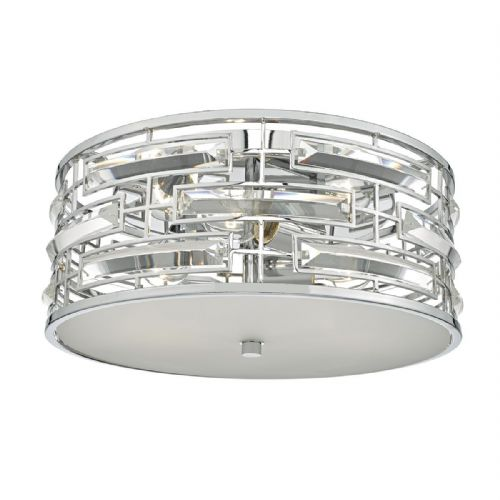 Seville 3 Light Flush Polished Chrome Crystal